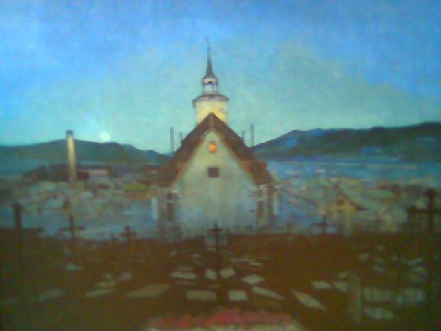 Harald Sohlberg (1869-1935), Natt (Røros kirke) (1904) Kan vanskelig å få nok Sohlberg