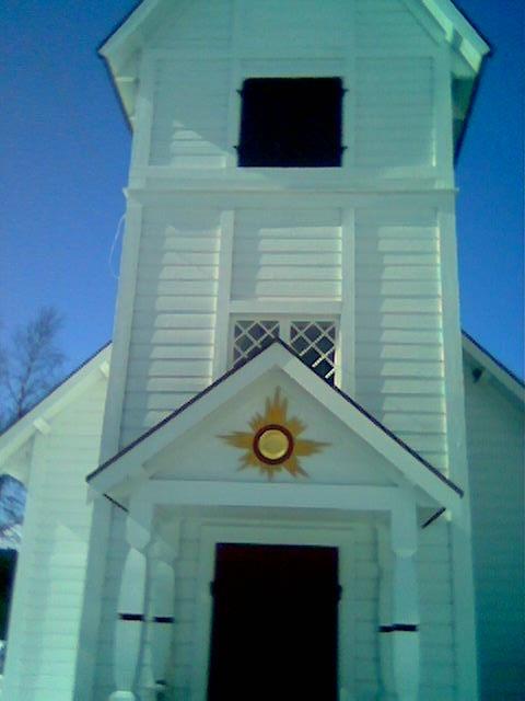 Ganske sterkt motiv over døren inn til Ankarede kapell