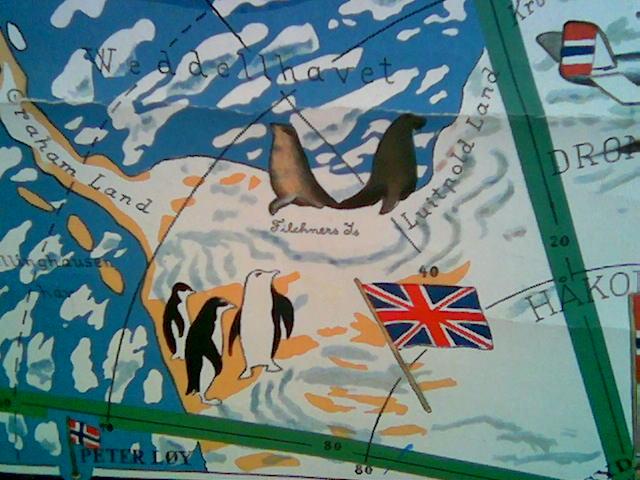 Britisk sektor, med det norske bilandet Peter Is øy nederst i kartkanten