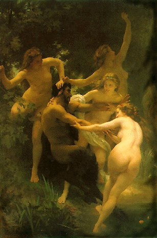 Nymphs and Satyr, 1873, by Adolphe-William Bouguereau :: The painting is described in the text of this page