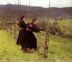 Erik (Theodor) Werenskiold Telemarksjenter, tror jeg :: Jeg fridde til tippoldedattera til ho til høyre, og ho svarte nei