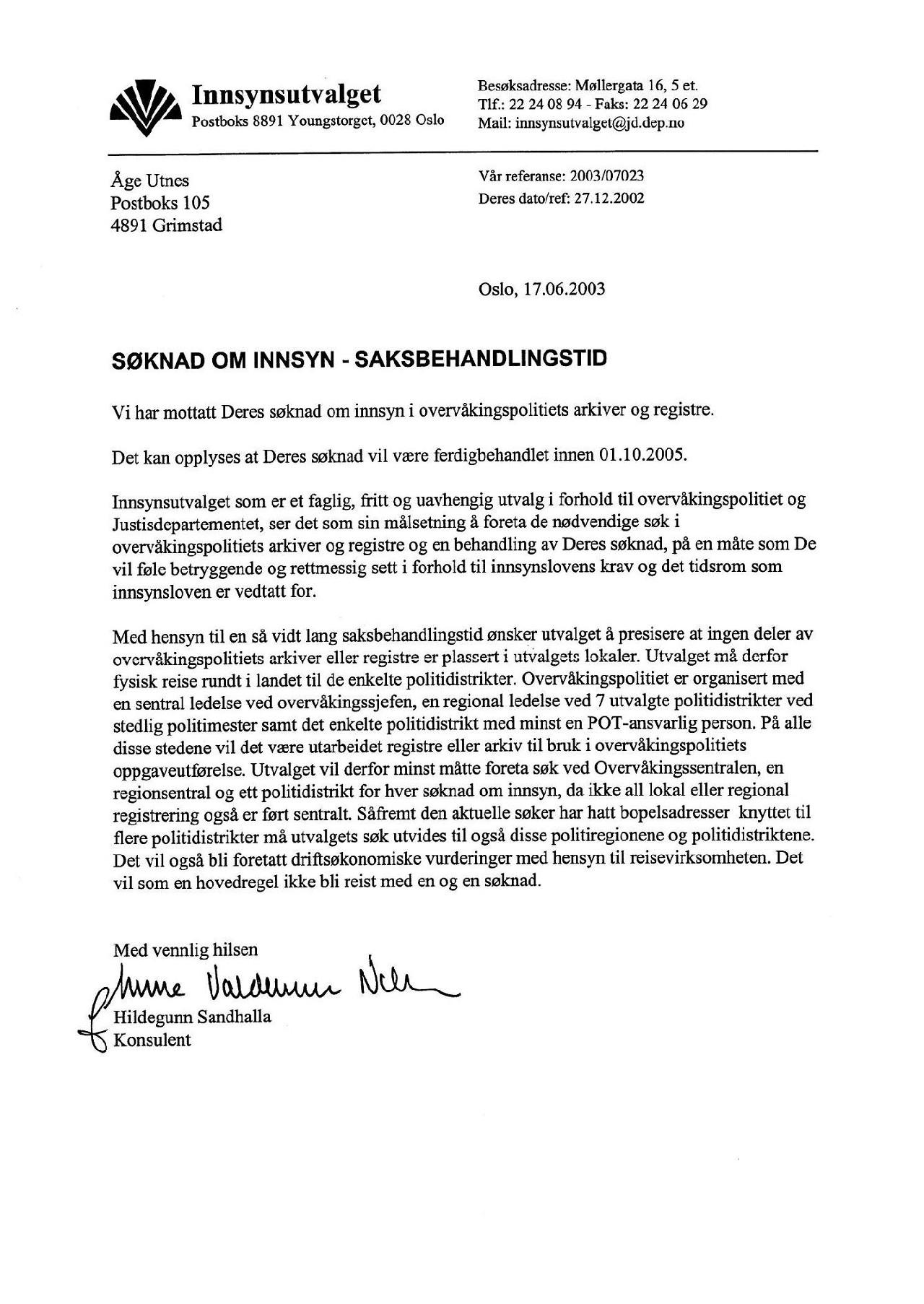 POT :: Innsynsutvalgets gjennomgang av 'mappa mi' hos Overvåkningspolitiet og Politiets Overvåkningstjeneste :: (2003-2005)