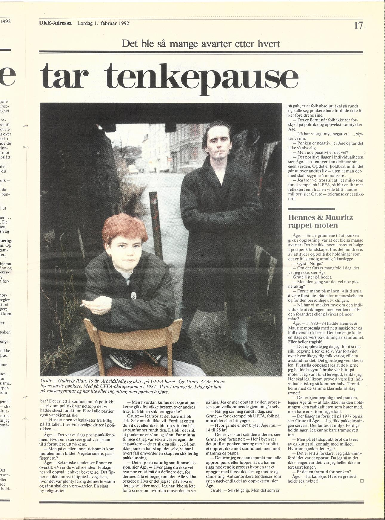 Uke-Adressa 1. februar 1992, høyre side (Klikk for større faksimile!)