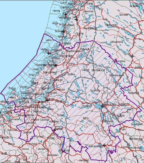 Sørsamiske reindriftsområder :: Klikk på kartet for større utgåve!